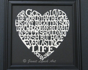 John 3:16 Heart - Bible Verse Quote - Valentine -Scherenschnitte - Hand Paper Cutting Art signed and dated By Janet Lynch -10x10 Framed