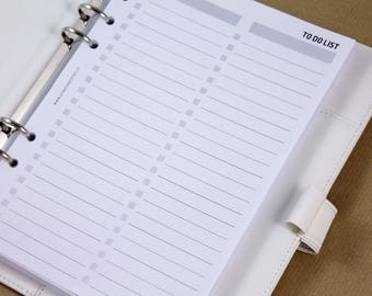 A5 To Do List planner inserts, printed pages insert, planner organizer sheets