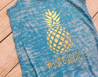 Pineapple Tank top | Pineapples | #pineapples | women's burnout racerback | 80 day | workout | Work Out