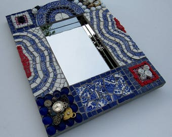 Red, White, and Blue Vintage China Frame with Mirror-mosaic art-mosaic frame-home decor-mixed media mosaic-mosaic wall hanging-framed mirror