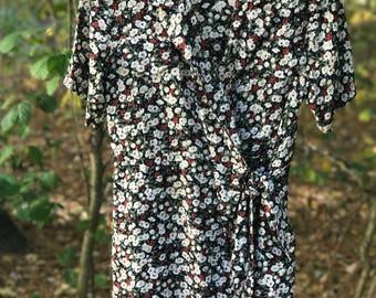 short sleeve floral wrap romper