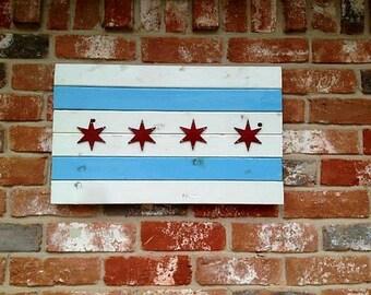 Chicago, burnt wood flag