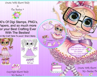 CD ROM Digital Digi Stamps Color images Card toppers Papers 100s of Images Big Eyed Art My Bestie Sweet Geeks By Sherri Baldy