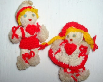 Vintage Crochet Doll Christmas Ornaments, Yarn, Red and White  (176-11)