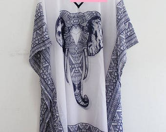 Beach Cover Up with Elephant Print