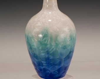 Ceramic Vase, Crystalline Pottery by Steve Wright, white green blue hand thrown vase with crystalline glaze