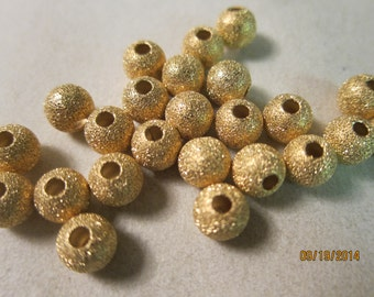 "8mm, Gold Plated ""Stardust"" Brass Beads - Available in 6, 10 & 20 Bead Pkgs and also in Larger Pkgs"