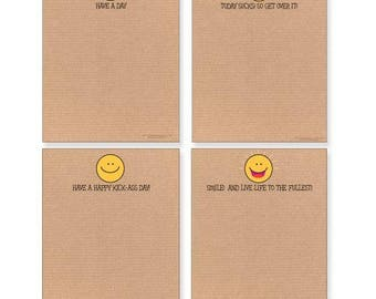 Fun Smiley Face Note Pad Pack - 4 Assorted Pads - 605