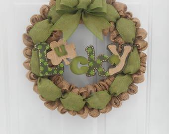 St Patrick's day burlap wreath Burlap St Patrick's day wreath St Patrick's day wreath Lucky burlap wreath Irish wreath Irish decor RTS