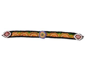 Vintage Kuchi Patch Afghan Tribal Beaded Dress / Kutchi Medallion / 22