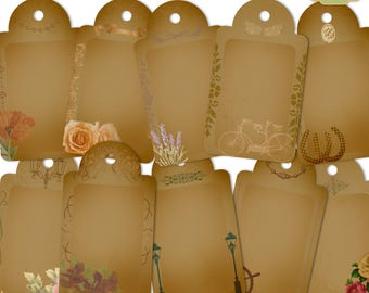 Digital Vintage Gift Tags, Mother's Day Gift Tags, Printable Gift Tags, Floral Printable Tags, Printable Favor Tags, Vintage Collage Sheet