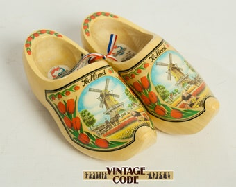 Dutch wooden clogs / Holland painted children clogs / Giril's wooden shoes Size 28-29
