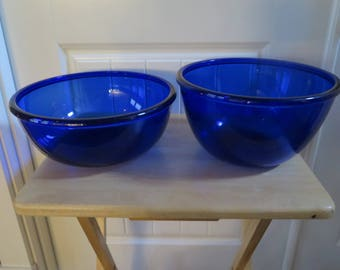 Vintage Blue Glass Mixing Bowls