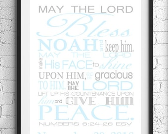 Numbers 6:24-26 Wall Art, Scripture Art, May The Lord Bless You Bible Verse Wall Art, Baby Boy Nursery, Personalized Gift, Religious Art