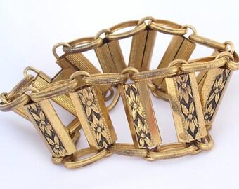 Vintage Floral Bracelet, Art Nouveau Style in Black and Gold, Retro Estate Jewelry