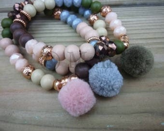 Beaded bracelet set with pompoms wooden beads facet beads