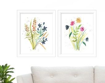Botanical Print Set - Floral Set of 2 - Watercolor Prints - Botanical Print Set - Watercolor Floral Painting- Watercolor Print Set of 2