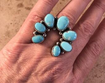Maynard Garcia Kingman Turquoise & Sterling Silver Naja Ring Size 6 Signed