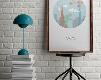 Tokyo print for wall decor, Tokyo skyline for home decor, gift for travellers