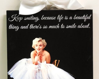 Marilyn Monroe Quote Keep Smiling Life is a Beautiful Thing Wood Wall Plaque NEW