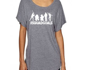 Star Wars Inspired Squad Goals Loose Fitting Dolman Slouchy TShirt  with R2-D2 C-3Po Luke Skywalker Han Solo Yoda and Chewbacca