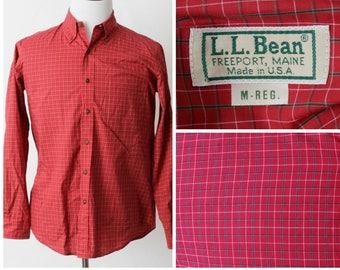 Vintage LL Bean Plaid Shirt - 90's Retro Medium M Button Down Long Sleeve Made in the USA