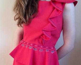 Original Hand-embroidered Peplum Dress