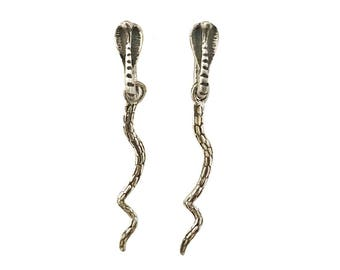 Snake Earrings     cobra silver gold serpent dangle sterling 14K studs post