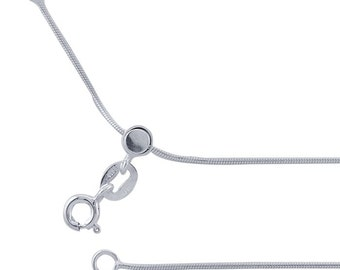 Adjustable Snake Sterling Silver Chain with Button Release