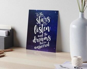 ACOMAF Print, To the stars who listen, Feysand Print, Bookish Quote Print, Sarah J Maas Print