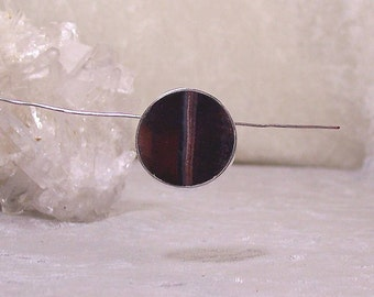 REVERSIBLE Red Tiger Eye-with-Hematite and Black Onyx – 25mm ROUND Inlaid Bead in Stone and Sterling Silver
