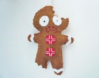 Drôle Noël ornement peur bonhomme pain d'épice feutrée ornement de décor gag cadeaux pour arbre de hommes hilarant