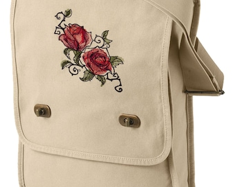 Painted Rose Embroidered Canvas Field Bag