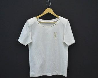 Yves Saint Laurent Shirt Women Size M Vintage YSL Top YSL Vintage T Padded Shoulder