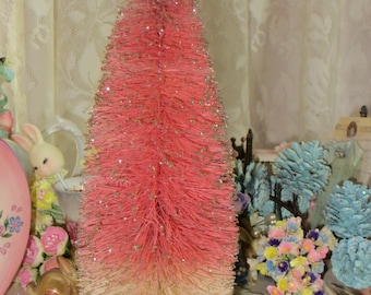 Vintage Bottle Brush Tree-Pink and Cream with Silver Glitter