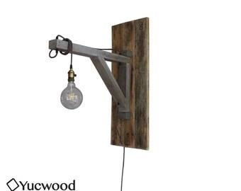 "Wooden pendant Lamp, ""Ingmar"", reclaimed wood, unique wall lamp, industrial lamp"