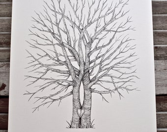 Split Tree Trunk Medium Fingerprint Tree Wedding Guest book, Hand Drawn in ink, includes 2 ink pads and pen