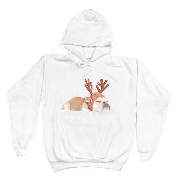Grumpy English Bulldog Reindeer Hoodie Sweatshirt - Ugly Christmas Sweater - Dog Owner Gift, Dog Lover