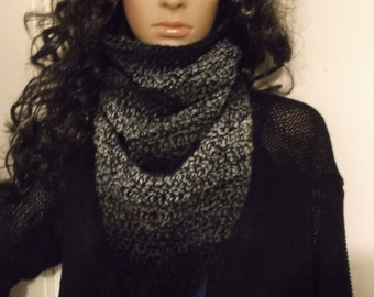Hand Crochet Kerchief Cowl, Neckwarmer, in beautiful ombre of Black Grey and White, winter accessory, Triangle Cowl, Triangle Neckwarmer