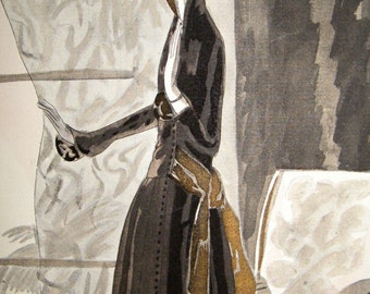 Art Deco Lady By Curtain By Eduardo Benito