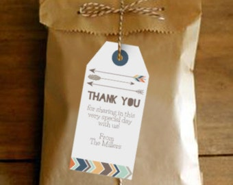 Tribal Baby Shower Favor Tags - Tribal Favor Tags - Boy Baby Shower Invitation - Instant Download and Edit at home with Adobe Reader