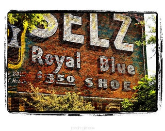 10 x 13 Print Special Brick Wall Advertising Seltz Royal Blue 3.50 Shoes Americana Fine Art Print in White, Red and Yellow