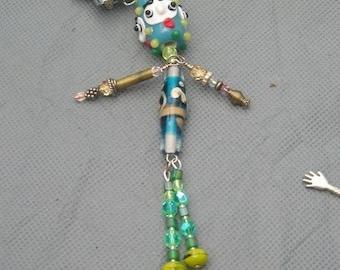 Art Doll BD Pin Brooch Goofy Guy with handblown beads --etsyBead, FunkyAlternativeJewelry, OlympiaEtsy, WWWG, paganteam, SupportingArtists