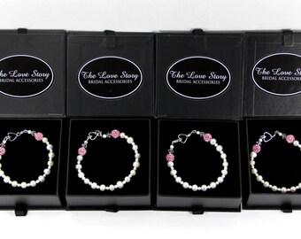 Pearl Bracelet - Mother's day - bridesmaid gift - flowergirl gift -Swarovski Pearl Bracelet w/ Customizable Pave' Crystals, wedding dresses