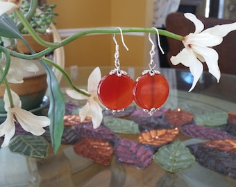 Handmade Beaded RED CARNALIAN EARRINGS