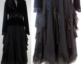"""Black lace skirt altered upcycled boho gypsy shabby chic Edwardian steampunk Victorian size small/med waist 30"""""""