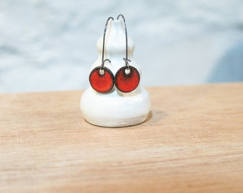Glass Enamel Red Earrings