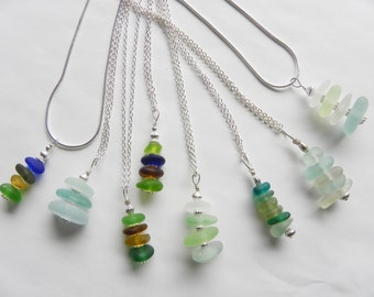 Sea glass stacked pendant necklace - design your own, single or mixed color sea glass on sterling silver chain - beach bridesmaid jewelry