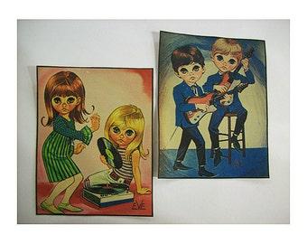 retro big eye patch set vintage 1960s mod go go sad eye print sew on patch kitsch