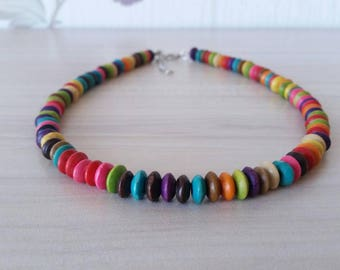 Beaded Wooden Choker Necklace, Wood Beads Necklace, Colorful Wooden Necklace, Minimalist Choker